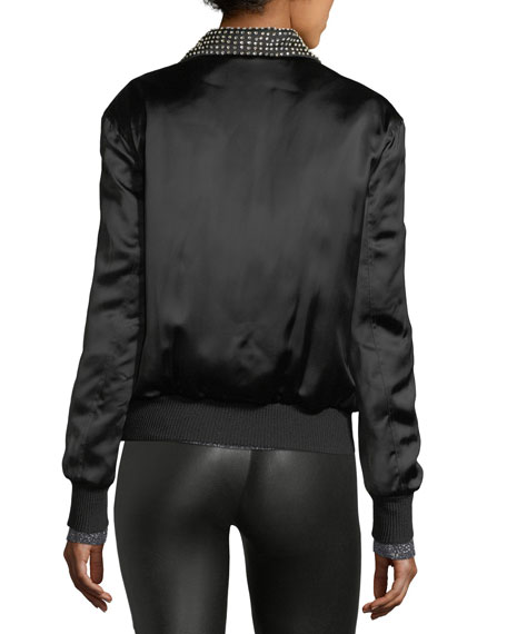 Je T'Aime Satin Teddy Jacket, Black