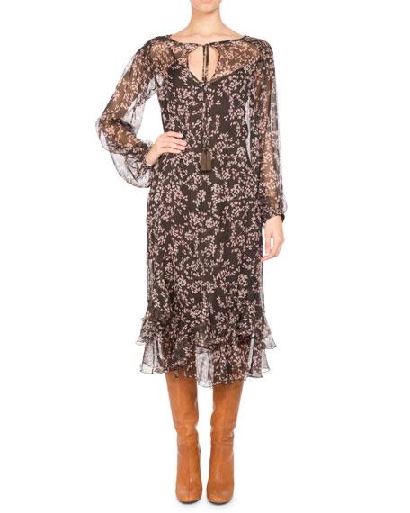 Floral-Print Chiffon Long-Sleeve Midi Dress, Brown