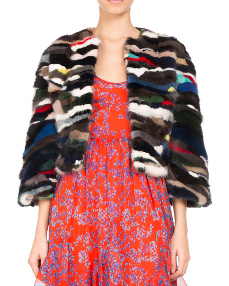 3/4-Sleeve Multicolor Mink Fur Jacket, Navy