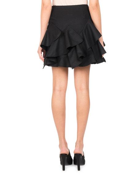 Ruffle-Trim A-Line Miniskirt, Black