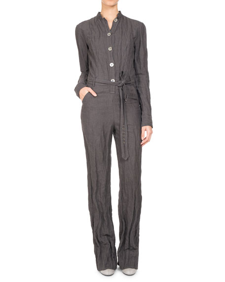 Long-Sleeve Belted Button-Front Jumpsuit