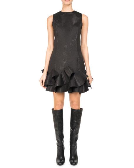 Pascal Millet Sleeveless Ruffle-Hem Minidress, Black