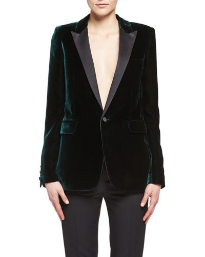 Velvet Peak-Lapel Blazer, Emerald