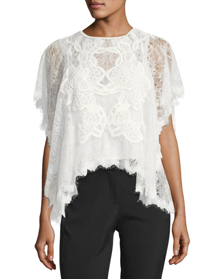 Jonathan Simkhai Collection Dimensional Lace Short-Sleeve Blouse