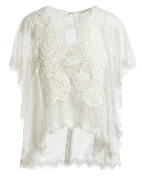 Dimensional Lace Short-Sleeve Blouse