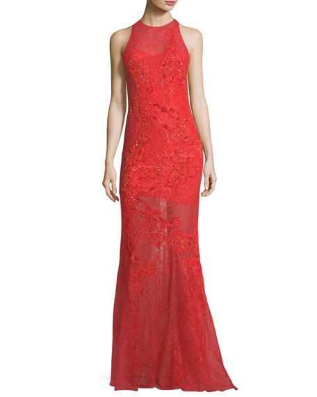 Jonathan Simkhai Collection Sleeveless Sequined Lace Asymmetric