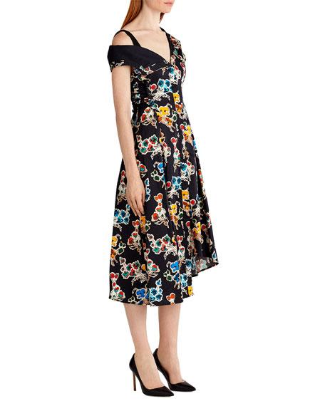 Printed Cotton Off-Shoulder Dress, Black Pattern
