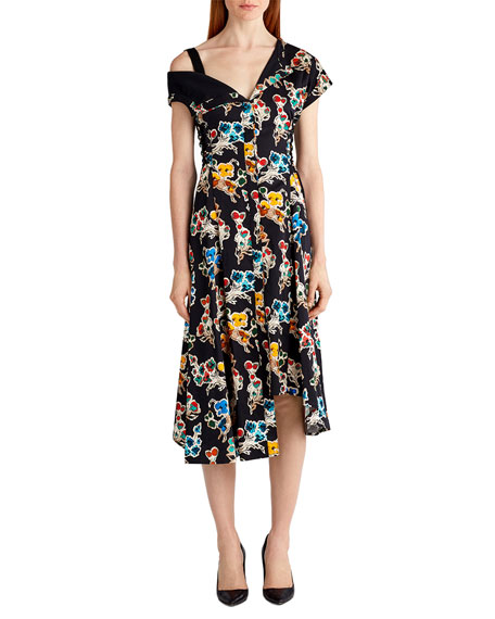 Jason Wu Printed Cotton Off-Shoulder Dress, Black Pattern