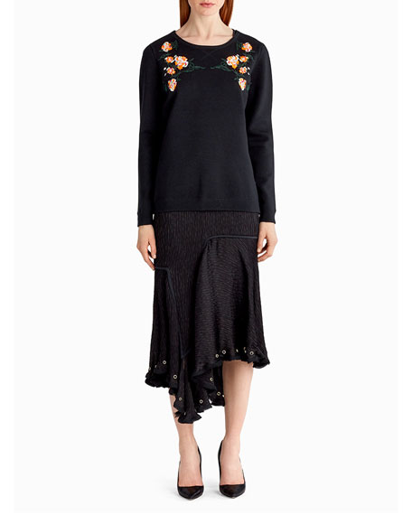 Jason Wu Embroidered Wool-Blend Sweater, Black