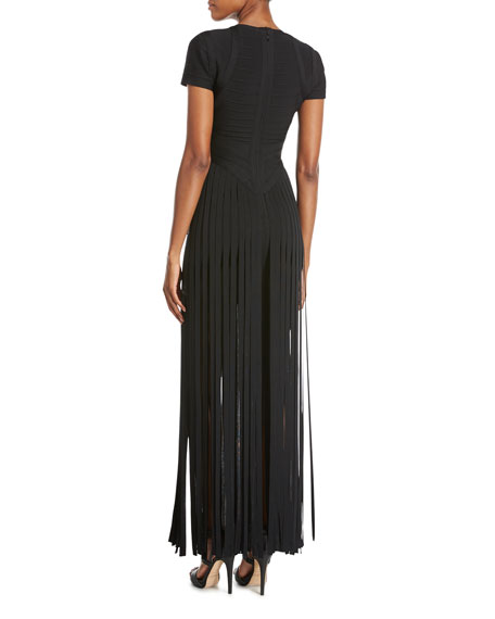 Cold-Shoulder Fringe-Skirt Bandage Dress, Black