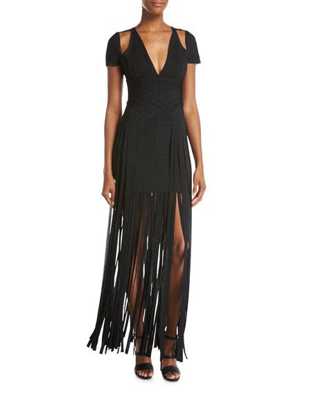 Herve Leger Cold-Shoulder Fringe-Skirt Bandage Dress, Black