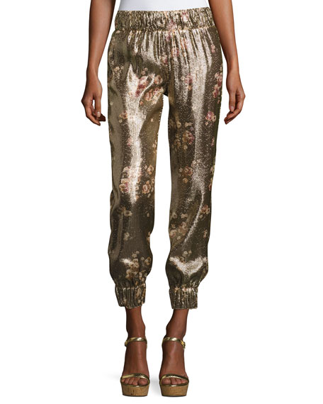 Haney Collette Metallic Floral Jogger Pants, Gold and