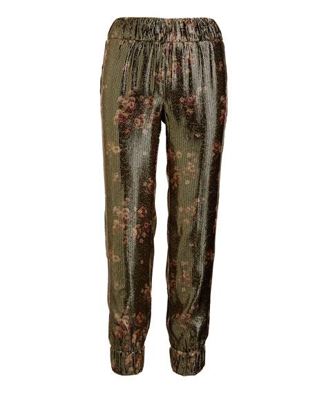 Collette Metallic Floral Jogger Pants, Gold