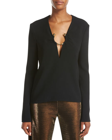Janelle Ring-Detail Long-Sleeve Top, Black
