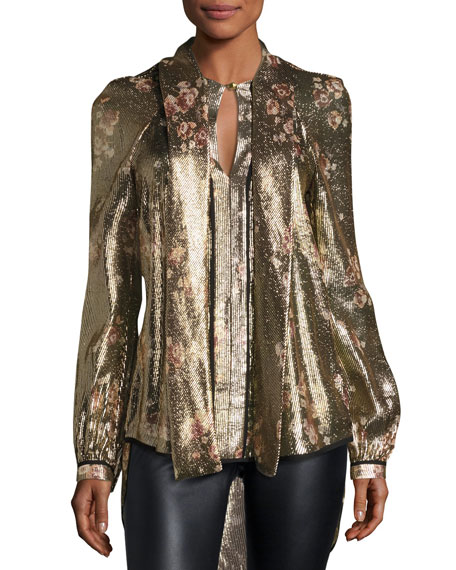 Haney Diane Metallic Floral Tie-Neck Blouse, Gold