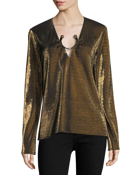 Janelle Long-Sleeve Metallic Top with Golden Ring Hardware