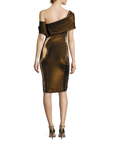 Emily Off-the-Shoulder Metallic Cocktail Dress