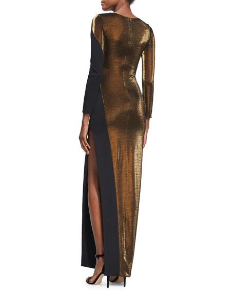 Karla Metallic Long-Sleeve Gown