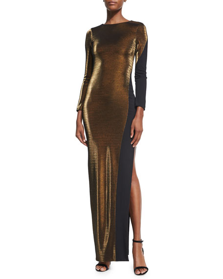 Haney Karla Metallic Long-Sleeve Gown