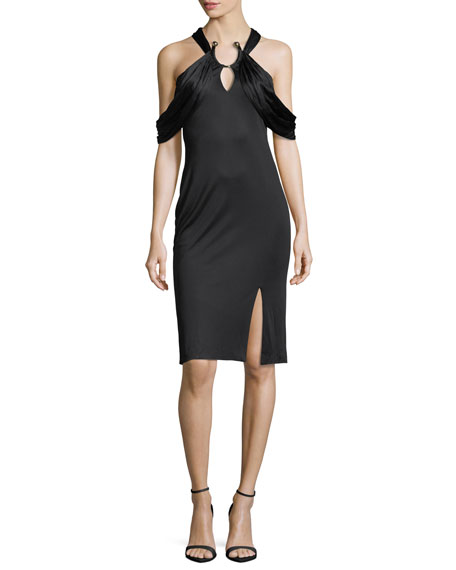 Haney Eva Cutout Ring-Detail Sheath Dress, Black