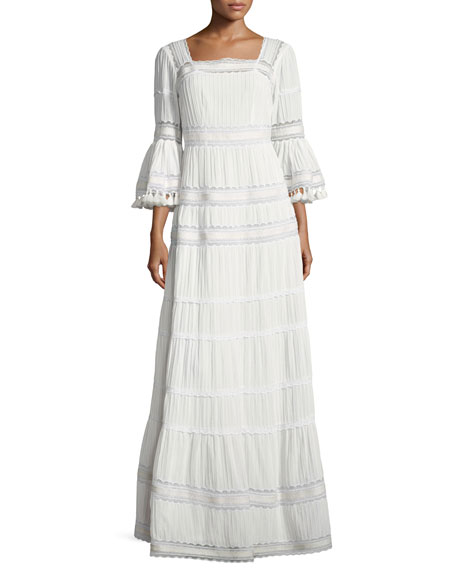 TALITHA Embroidered Cotton Prairie Maxi Dress, Ivory