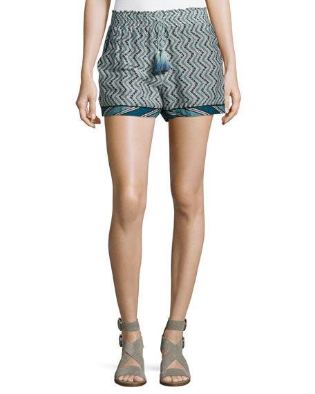 Zigzag Cotton-Silk Tassel Drawstring Shorts, Blue