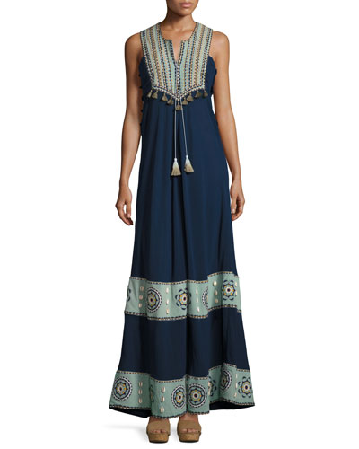 Embroidered Cotton-Silk Sleeveless Maxi Dress, Navy