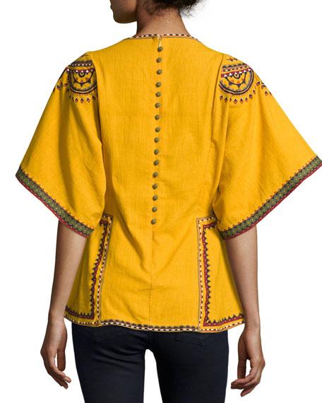 Anaya Embroidered Cotton Kimono-Sleeve Top, Marigold