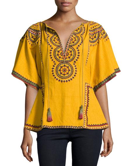 Talitha Collection Anaya Embroidered Cotton Kimono-Sleeve Top,