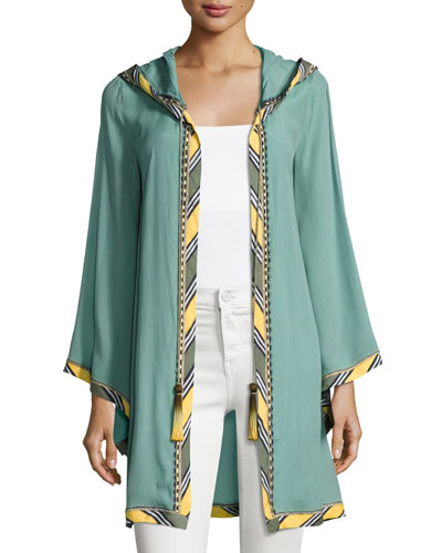 Striped-Border Hoodie Short Robe, Green