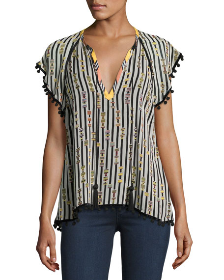 Striped Pompom-Trim V-Neck Blouse, Black/White