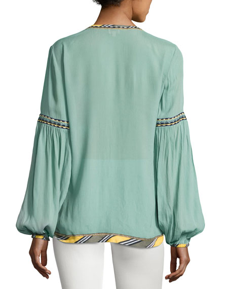 Striped-Border Split-Neck Blouse, Green