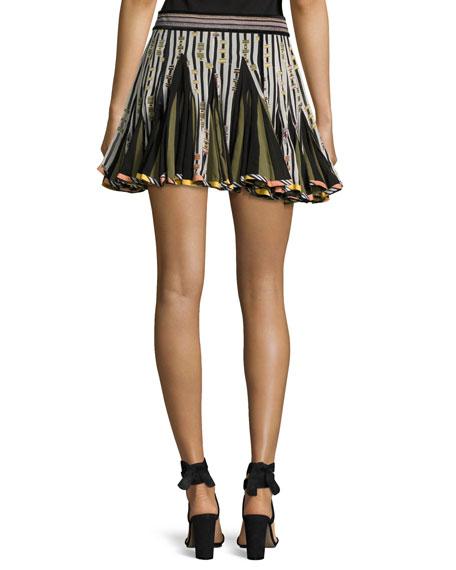 Striped Inverted-Pleat Flounce Miniskirt, Black/White