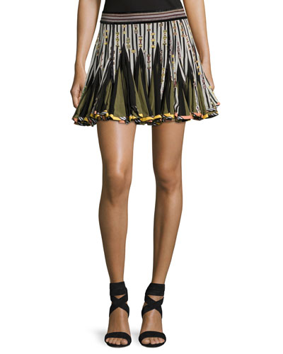 Striped Inverted-Pleat Flounce Miniskirt, Black/White