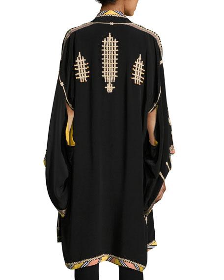 Embroidered Long Silk Kimono Coat, Black
