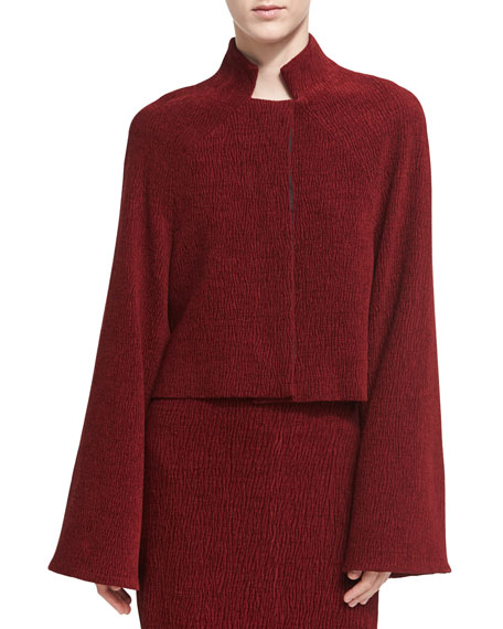 Rosetta Getty Chenille Cropped Jacket, Dark Red and