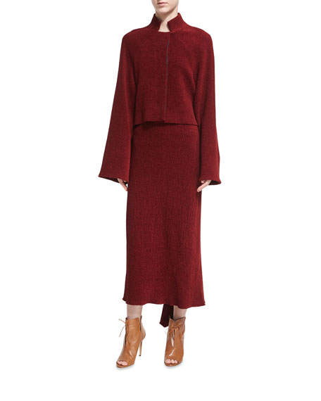 Chenille Godet-Back Midi Skirt, Dark Red