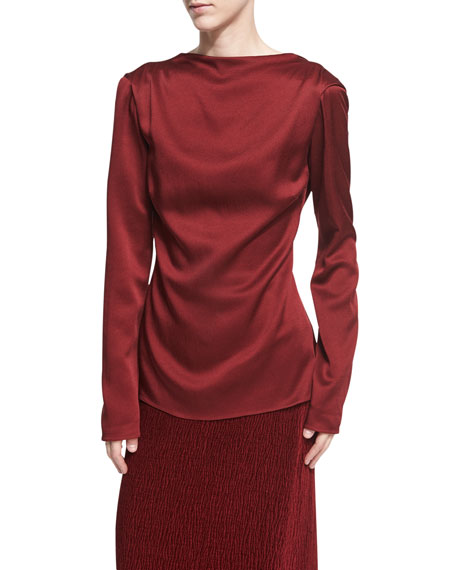 Rosetta Getty Satin Draped Tie-Back Top, Dark Red