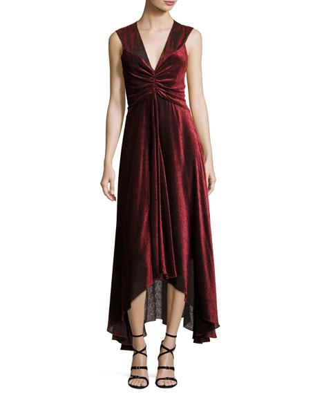 Pebbled Burnout Velvet Ruched Dress, Black/Red