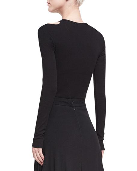 Cold-Shoulder Long-Sleeve T-Shirt, Black