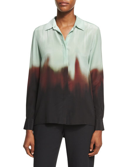 Ombré Silk Godet-Back Shirt, Multicolor