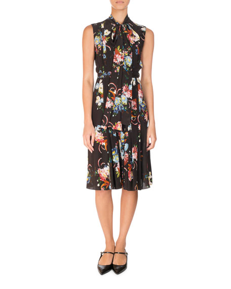 Erdem Floral-Print Sleeveless Tie-Neck Silk Midi Dress, Black