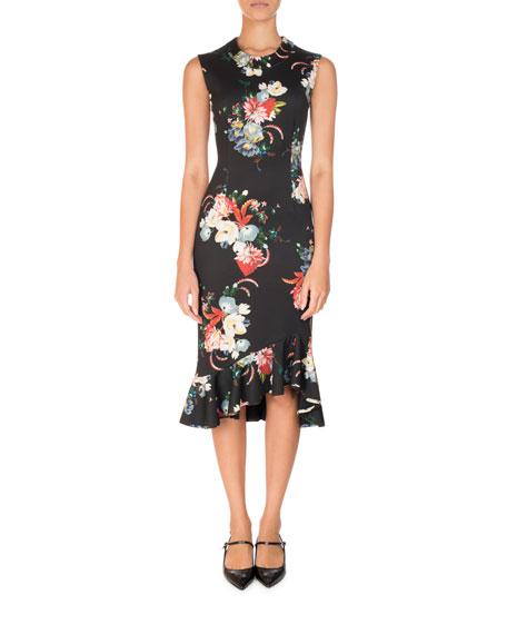 Erdem Floral-Print Sleeveless Neoprene Flounce Dress, Black