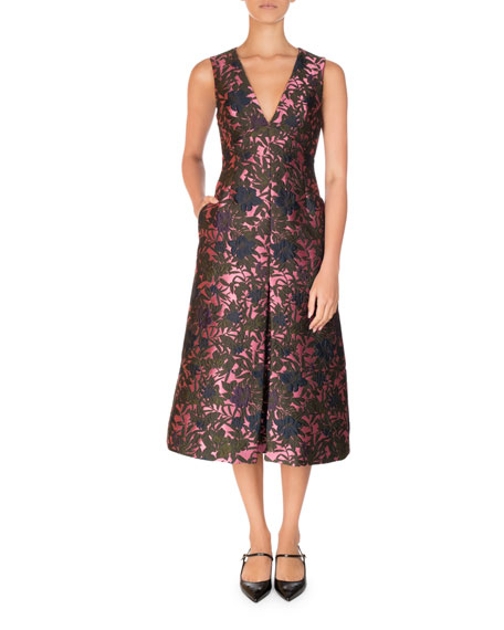 Erdem Havana Floral Jacquard Sleeveless A-Line Midi Dress,