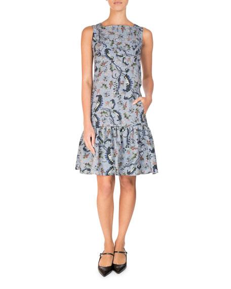 Erdem Paisley Vine Matelasse Sleeveless Flounce Dress, Blue/Pink