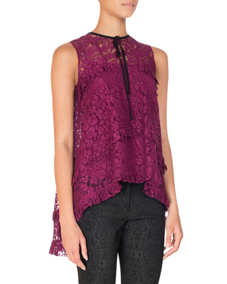 Erdem Tiered Lace High-Low Blouse, Wine