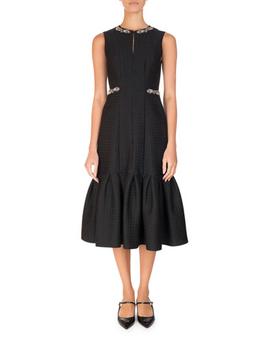 Embellished Jacquard Flounce-Hem Midi Dress, Black