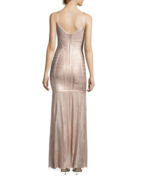 Sleeveless Metallic Plissé Bandage Gown, Pink
