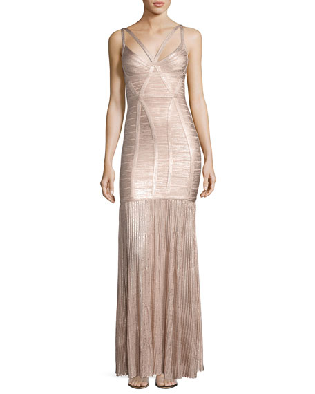 Herve Leger Sleeveless Metallic Plissé Bandage Gown, Pink