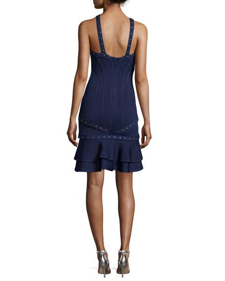 Studded Sleeveless Bandage Dress with Detachable Hem